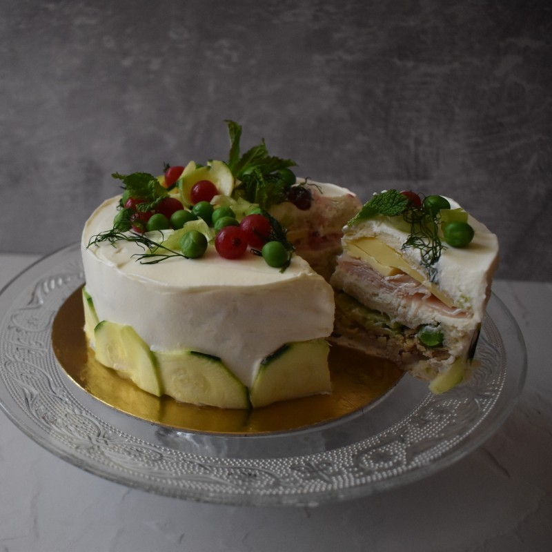 Swedish sandwich cake with paté, cheese and turkey