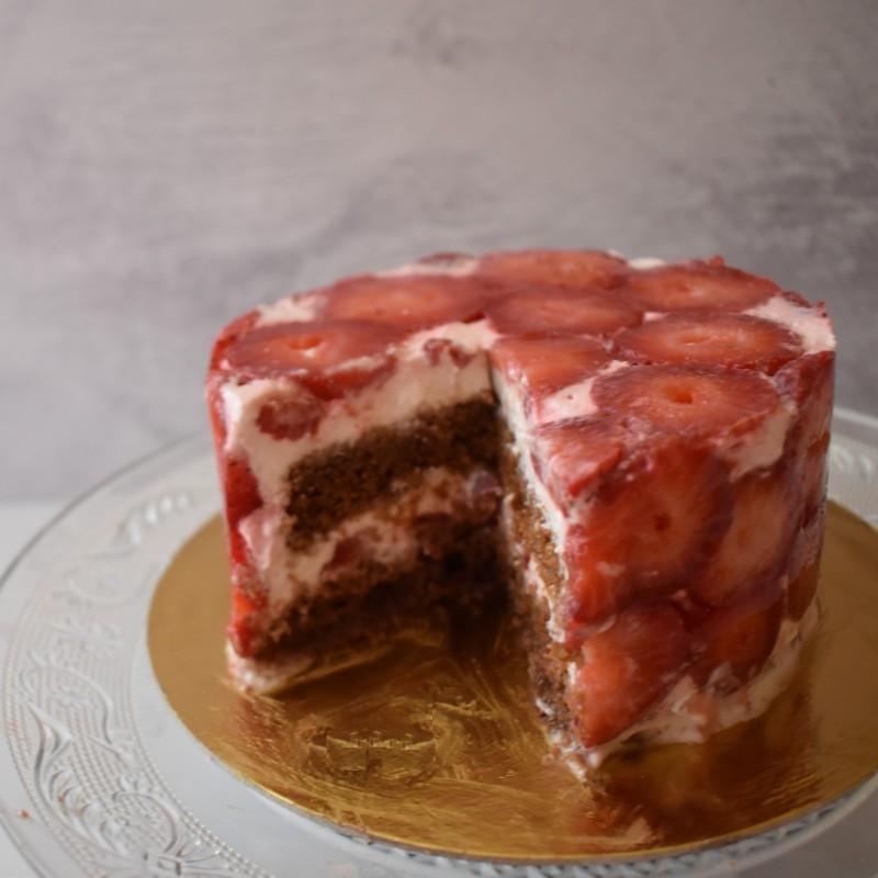 Modernist strawberry chocolate cake