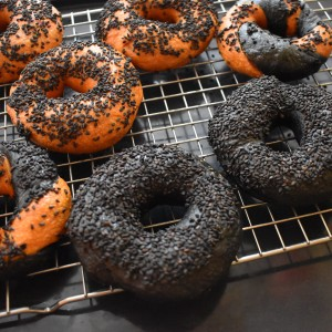 activated charcoal and turmeric sourdough bagels