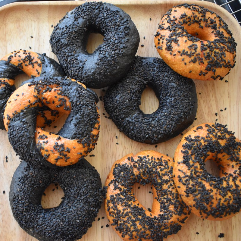 Halloween orange and black activated charcoal and turmeric sourdough bagels