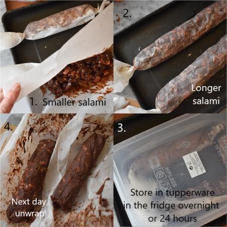 Chocolate salami - making, 2