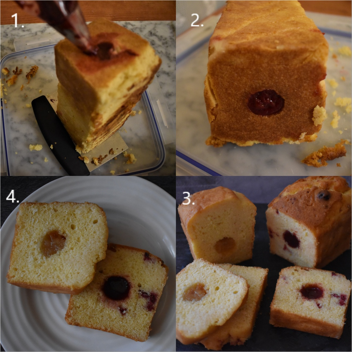 Lemon and raspberry insert in rocher loaf cake