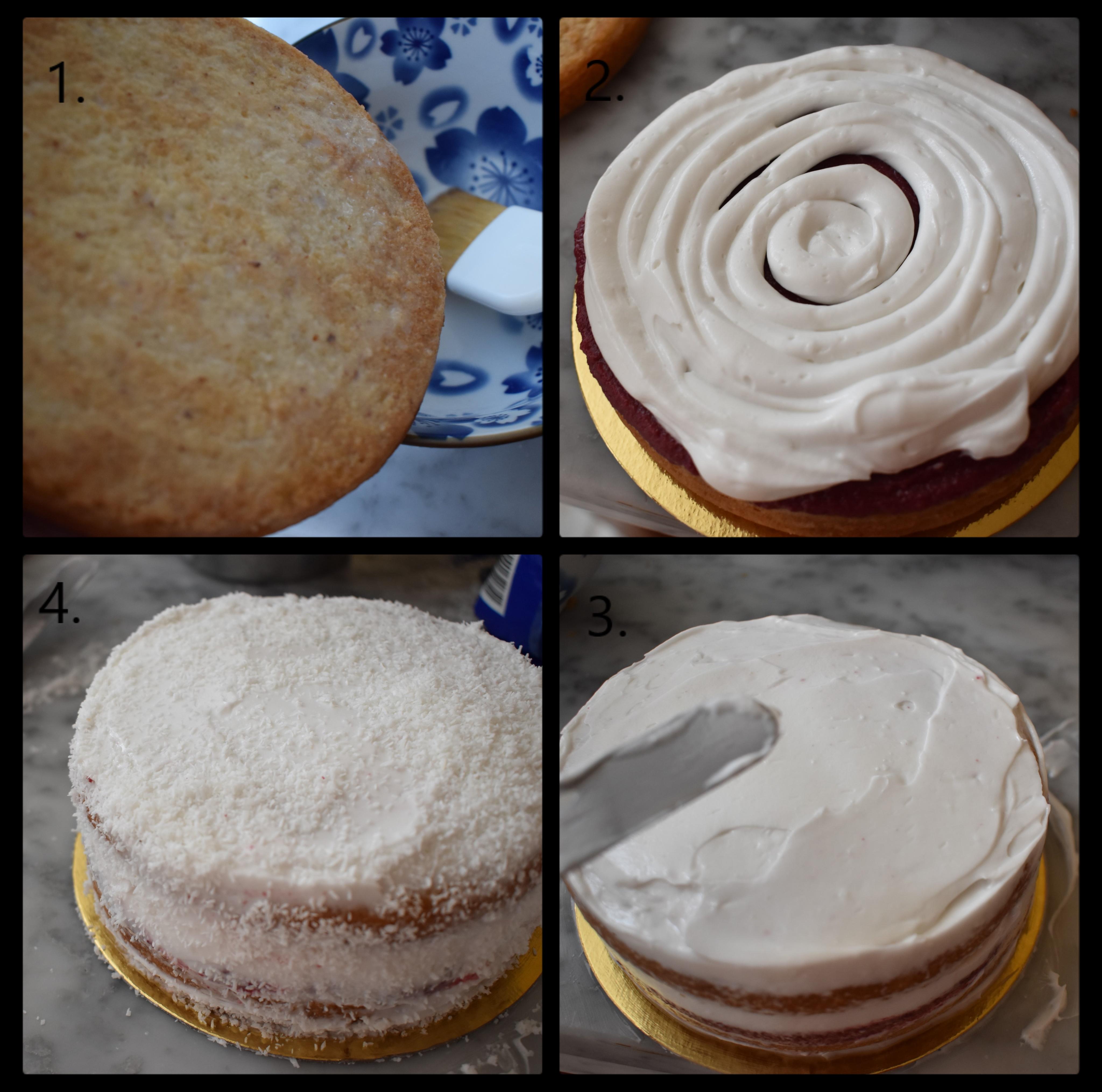 Snowy love vegan layer cake. assembling