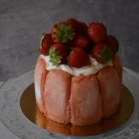 Slightly healthier strawberries and champagne (cava) charlotte!  No-bake, easy, delish, celebratory ... :)